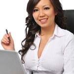 Beautiful businesswoman with laptop — Stock Photo
