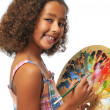 Girl with palette — Stock Photo