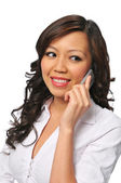 Una bella giovane donna asiatica al cellulare — Foto Stock