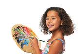 Mädchen mit palette — Stockfoto