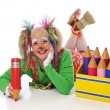 Clown with pencils — Stock Photo