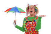 Clown with umbrella — Stock Photo