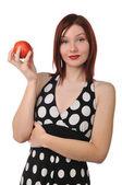 Mulher ruiva com maçã vermelha — Foto Stock