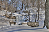 Winter scene with waterfall — Stock Photo