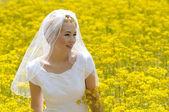 Mariée dans un champ de fleurs — Photo