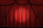Large red curtain stage ans spot light — Stock Photo