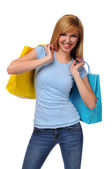 Young teen with shopping bag — Stock Photo