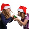 Stock Photo: Two girls fighting over a present