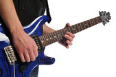 Close up of musician playing the guitar — Stock Photo