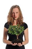 持有一棵树的女人 — 图库照片