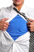 Affärsman öppna sin skjorta — Stockfoto