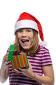 女の子サンタの贈り物と — ストック写真