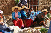 Group of local women in a street market in Northern Peru — Stock Photo
