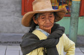 Old woman at a local street market in Northern Peru — Stock Photo