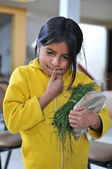 Little girl selling at the local market in Northern Peru — Stock Photo