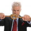 Businessman pulling a rope — Stock Photo