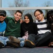 Diverse Group of Students smiling and having a good time — Stock Photo