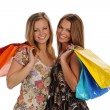 Two Gorgeous Young Women with shopping bags — Stock Photo