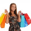 Young Womnan holding shopping bags — Stock Photo