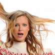 Young Blond Woman pulling her hair — Stock Photo