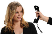 Businesswoman refusing to answer the phone — Stock Photo