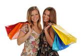 две великолепные молодые женщины с сумки — Стоковое фото