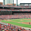 Stock Photo: Baseball at Busch Stadium with pitcher Chris Carpenter at mo