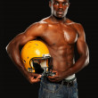 Young African American Man Holding a Football Helmet — Stock Photo