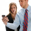 Stock Photo: Young Businesspeople with cell phone