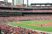 Baseball at Busch Stadium with pitcher Chris Carpenter at the mo — Stock Photo