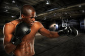Yopung African American Boxer — Stock Photo