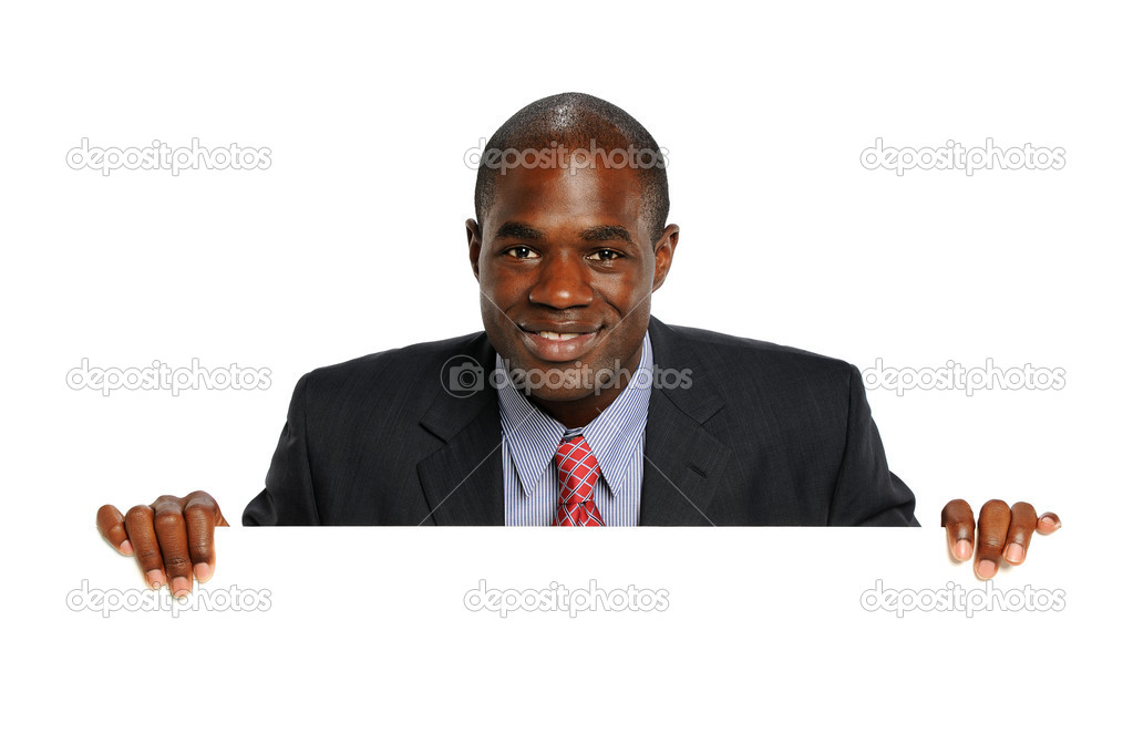 Young African American Businessman Holdin a blank sign isolated on a white background — Stock Photo #14571717