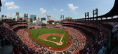 ST. LOUIS - JULY 07: A baseball game at Busch Stadium between th — Stock Photo