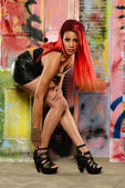 Black Woman with red hair — Stockfoto