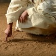 Jesus Writing on the sand — Stock Photo