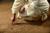 Jesus Writing on the sand — Stock Photo