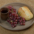 Still life with grapes, wine and bread — Stock Photo