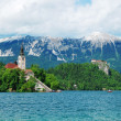 Bled lake landscape in Slovenia - Stock Photo
