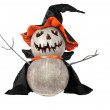 Funny Halloween pumpkin with black hat — Stock Photo