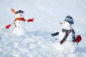 Two Snowmen - A lovely couple — Stock Photo