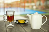 Cup of tea on the wooden table — Stock Photo