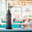 Interior design of empty outdoor restaurant — Stock Photo