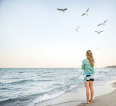 Young Girl are Feeding Seagulls — Stock Photo