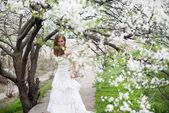 Beautiful bride in spring blossom — Foto Stock