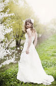 Beautiful bride in spring blossom — Stockfoto