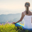 Young woman meditate on the top of mountain — Stock Photo #50976607
