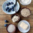 Dairy products and plums - Photo