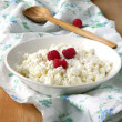 Сottage cheese with raspberries — Stock Photo