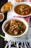 Soup with beans and meat — Foto Stock