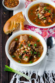 Soup with beans and meat — Stock Photo